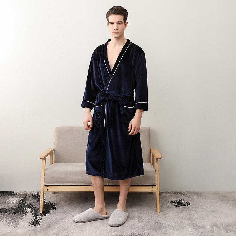 2019 Velour Robes Men Bathrobe Couples V Neck Sexy Robe Three Quater Sleeve  Plus Size XXL Women Summer Autumn Sleepwear Ropa Hombre From Hognyeni 9ef0548e7