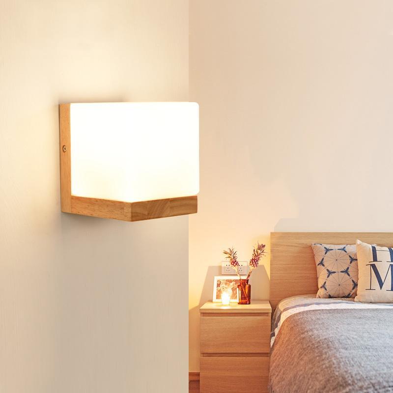 2018 Modern Wood Wall Lights Bedroom Wall Lamp Hallway Wandlamp Bed ...