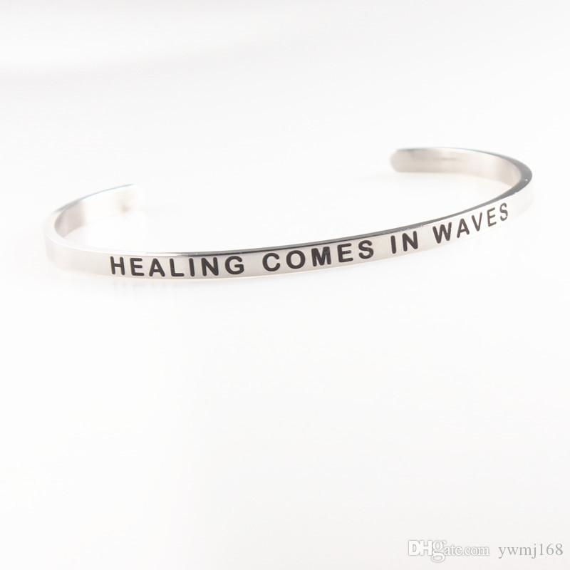 2018 New Silver Stainless Steel Engraved BREATHE Positive Inspirational Quote Hand Stamped Cuff Mantra Bracelet Bangle For Women Gifts