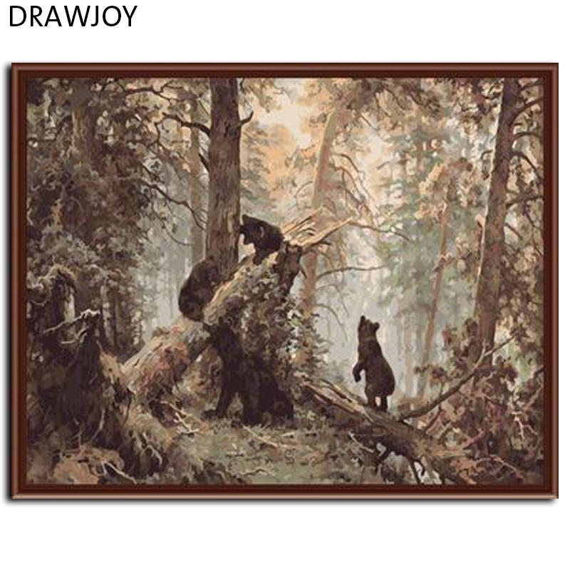 Drawjoy frameless picture painting by numbers wall art acrylic diy oil canvas painting home decoration for living room 4050cm canvas painting oil canvas