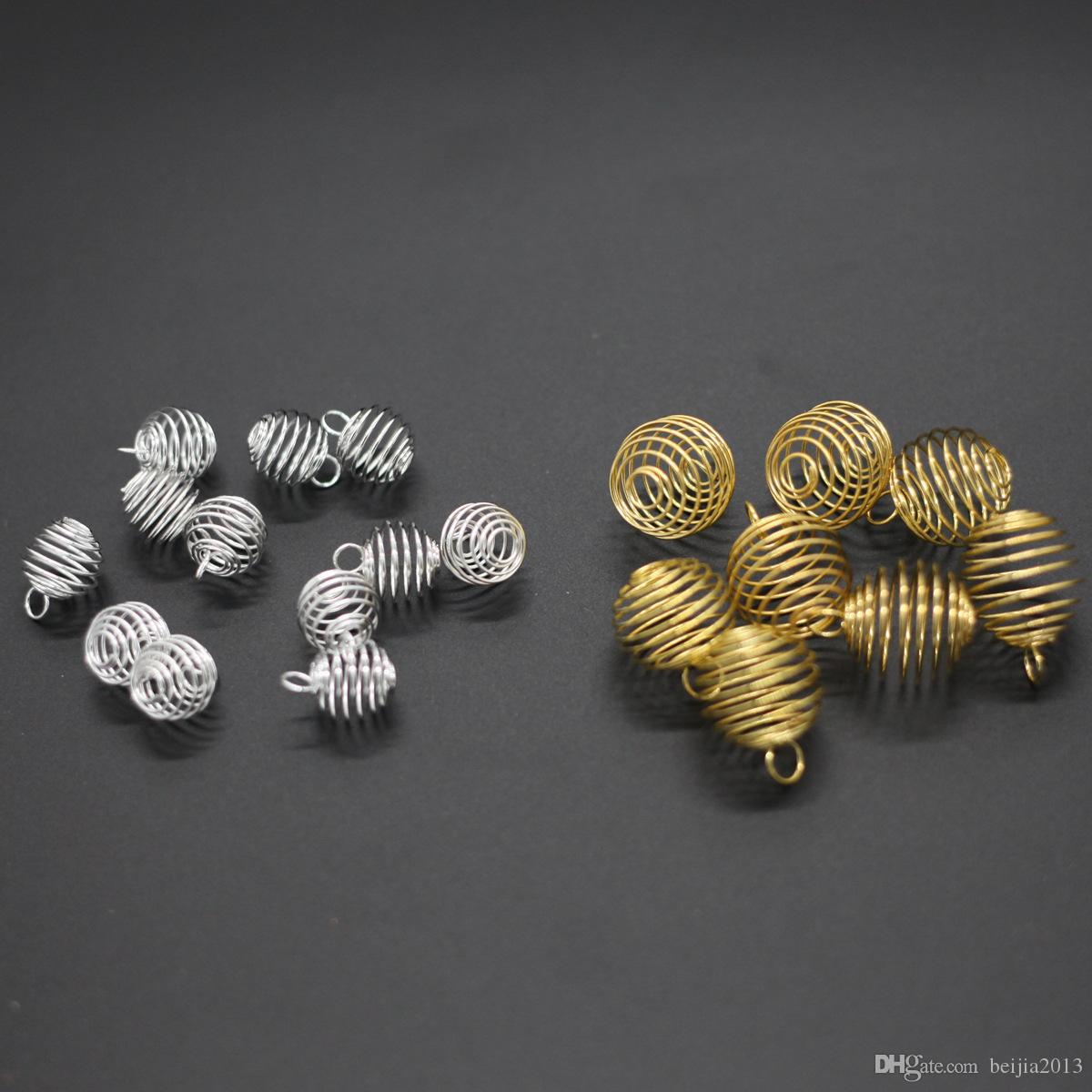 Gaiolas de grânulos em espiral de prata encantos encantos Conchas de pingentes 9x13mm Jóias fazendo DIY