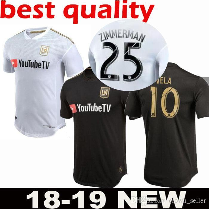 775fe3e27 2019 18 19 Los Angeles FC Soccer Jerseys GABER ROSSI 10 VELA CIMAN  ZIMMERMAN Custom Black White LAFC Adult Kids Youth 2019 Football Shirts  From Crown seller ...