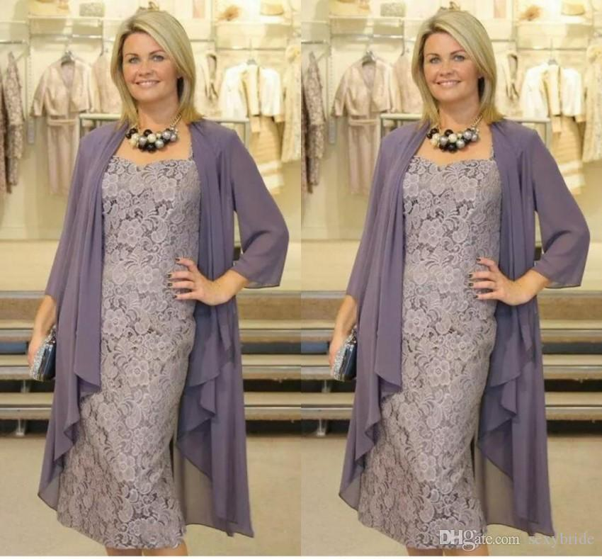 2022fe34c25f Elegant Two Pieces Lavender Mother Of The Bride Dresses Suits Full Lace  Dress With Jacket Tea Length Short Prom Party Gowns Plus Size Mother Of The  Bride ...