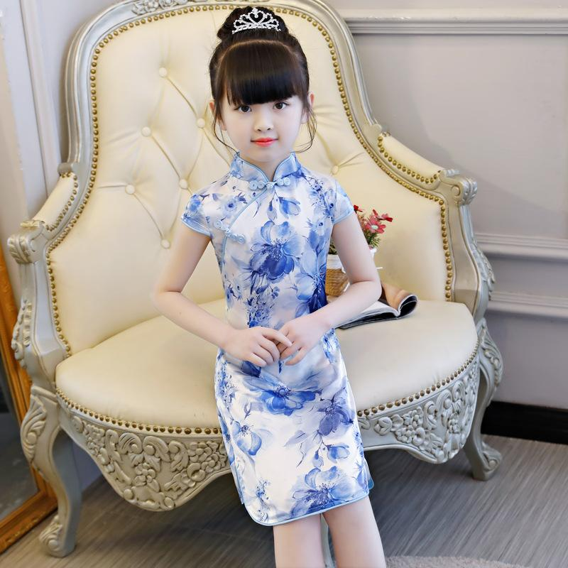 4e327287a 2019 Kids Girl Cheong Sam Dress NEW Chinese Girl Summer Rayon Dress 6 7 8  Year Princess Birthday Party Children Clothing From Trousseau, $41.94 |  DHgate.Com