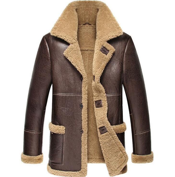 buy online 43a67 c9219 2018 neue männer schaffell leder winterjacke denken warme pelz ein männer  motorrad echtes leder mantel echte jacke männer