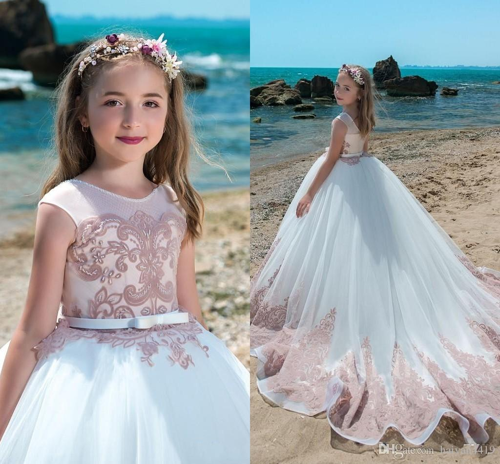 2018 Flower Girls Dresses Ball Gown White Jewel Neck Lace Appliques ...