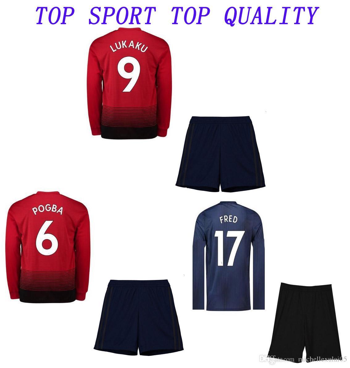 ffc745ab3 2019 18 19 Mache United Soccer Jersey Shorts 2018 19 UTD POGBA LUKAKU  RASHFORD ALEXIS Football Kits Adults Outdoor Sports Training Suits From ...