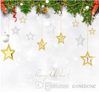 Christmas Hollow Star Hanging Ornament Gold Silver Blue Purple Glitter Stars Pendant Diy Tree Home Decor Vintage Decorations White