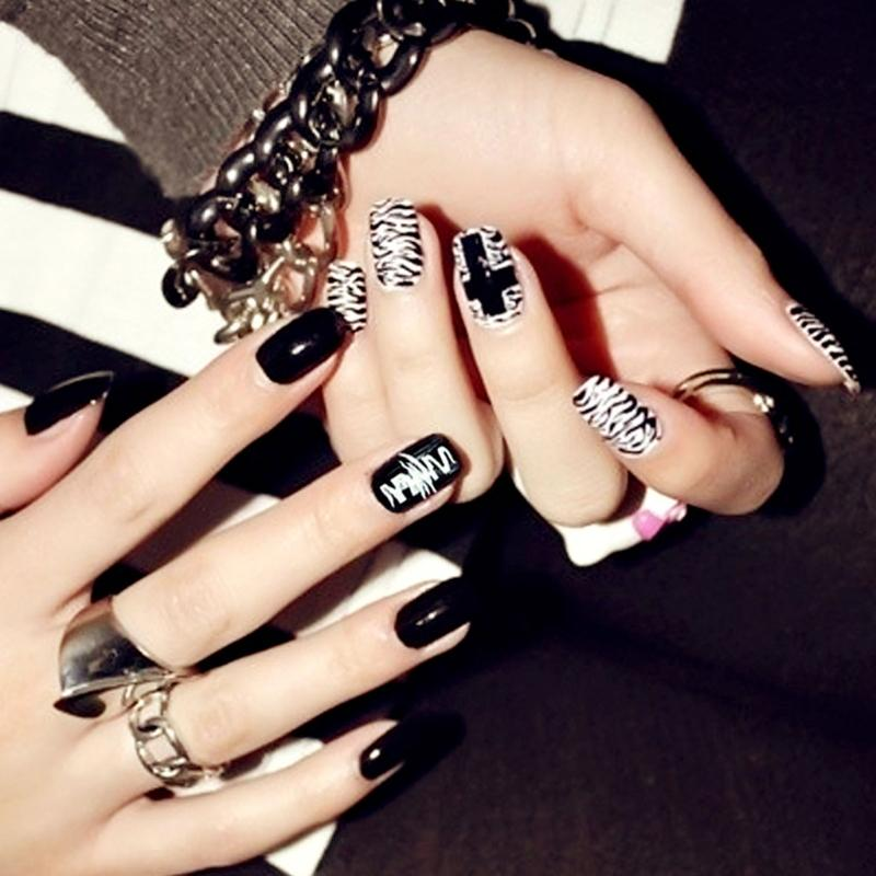 Tips Full Acrylic Nails Designer Fashion False Punk Style Nail Art