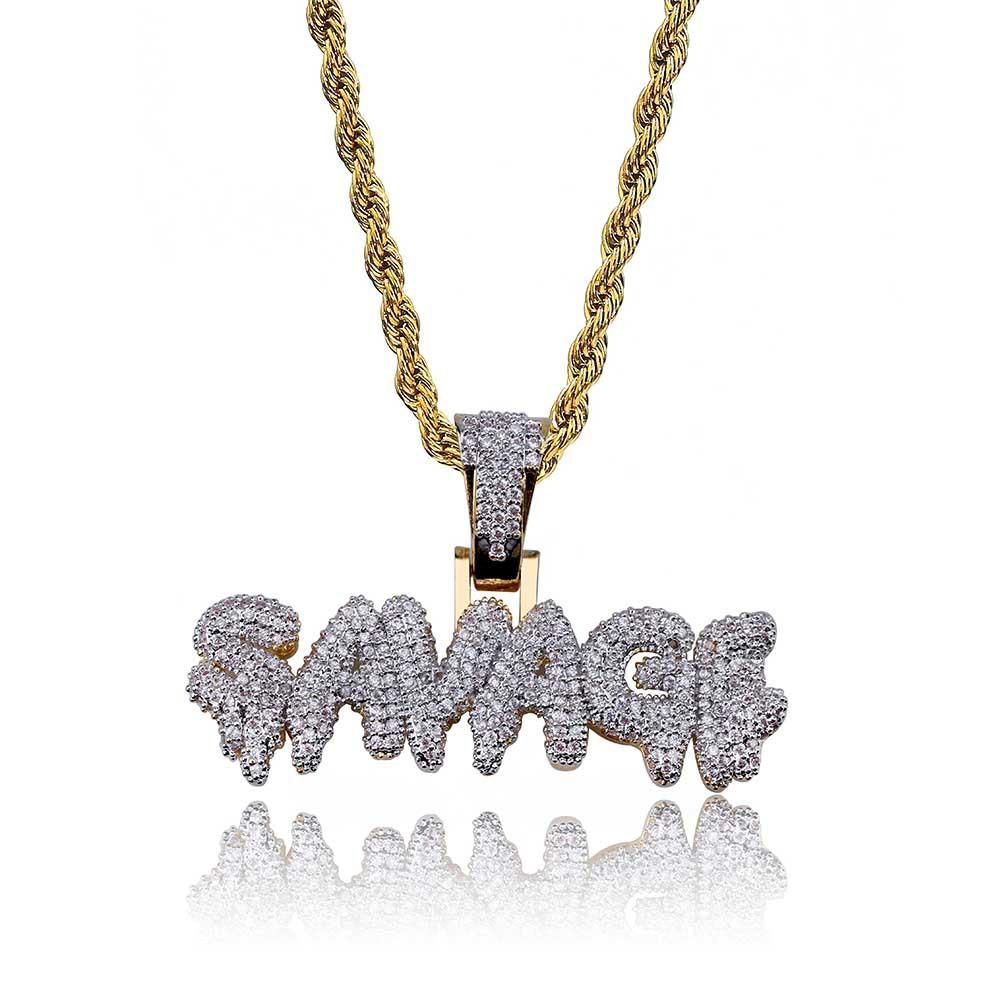 95e55c9a6c94 Compre Personalidad Burbuja Letras SAVAGE Colgante Collar Moda Rap Hip Hop  Full Zircon Hipster Collar Regalo De La Joyería A  29.65 Del Tw jewelry