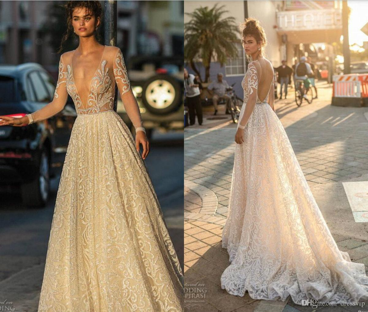 2972cfe693a5 Discount 2019 Berta Wedding Dresses A Line Deep V Neck Sweep Train Backless  Long Sleeve Lace Wedding Gowns Illusion Plus Size Boho Bridal Dress Wedding  ...