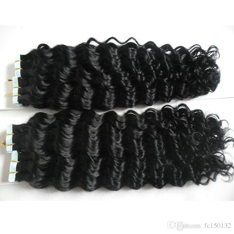 Natural Color Tape In Human Hair Extensions Double Drawn Hair skin weft tape hair extensions Human Tape in kinky curly