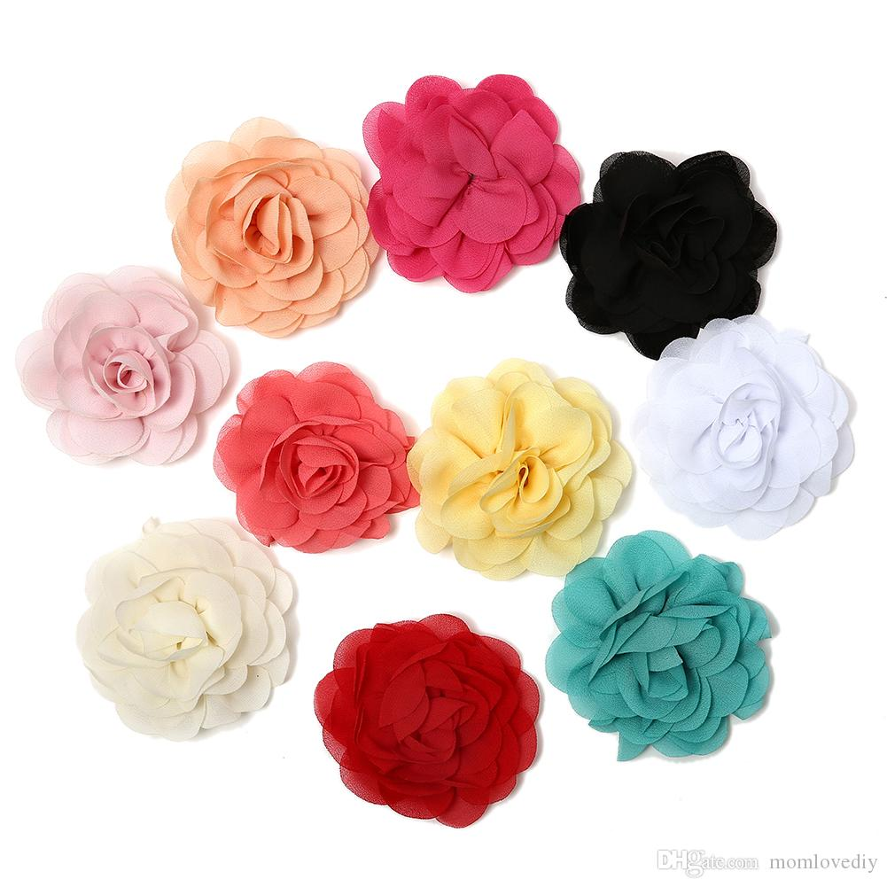 2018 315 Chiffon Petals Poppy Flower Rolled Rose Fabric Hair