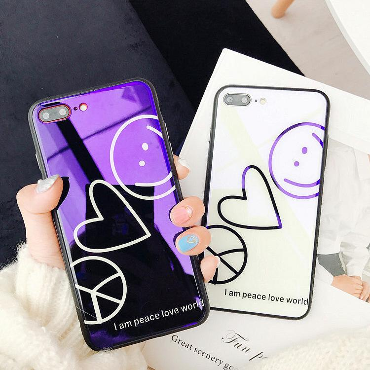 Blu-ray tempered glass shell Love Smiley Mobile Phone Case for iphone6 6s 6plus 7 7plus 8plus X fashion Couple case