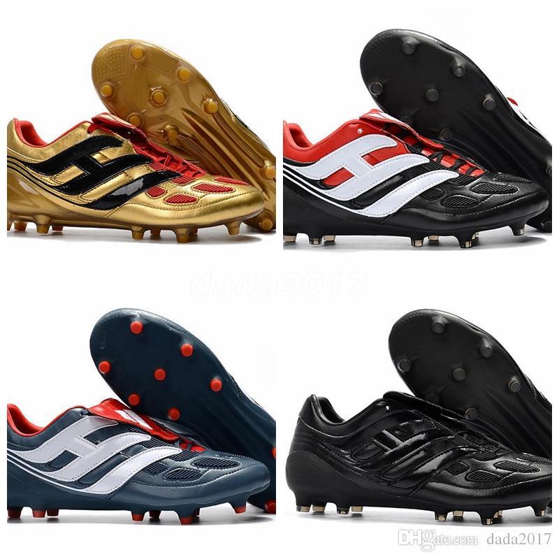 the best attitude ef482 be776 Compre Con Caja 2018 Predator Precision Remake FG Cleats Zapatos De Fútbol  Azul Rojo Edición Limitada Beckham Mania Football Boots A  92.75 Del  Dada2017 ...