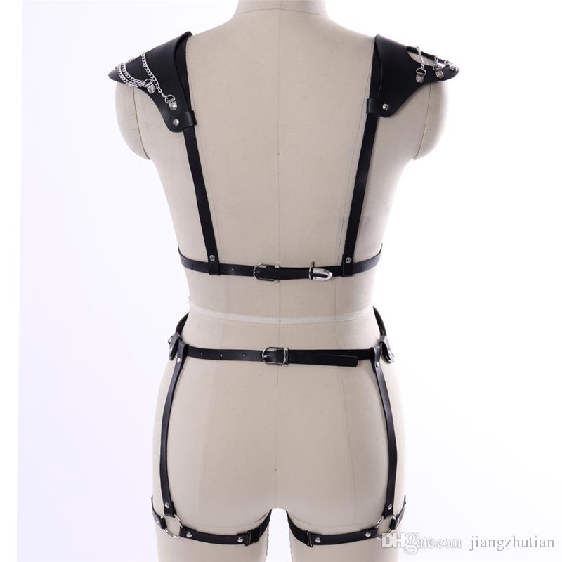 2018 New Sexy Men Women Halter Strap Collars Style Handmade Waist Belt Y Leather Harness Body Bondage Cage Straps