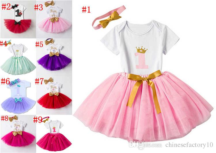 3efb77c0788e 2019 Ins Baby Girls Birthday Rompers   TUTU Skirts   Headband Sets Infant  Toddler Girl Bubble Skirt Princess Dress Baby Summer Cotton Ourfits From ...