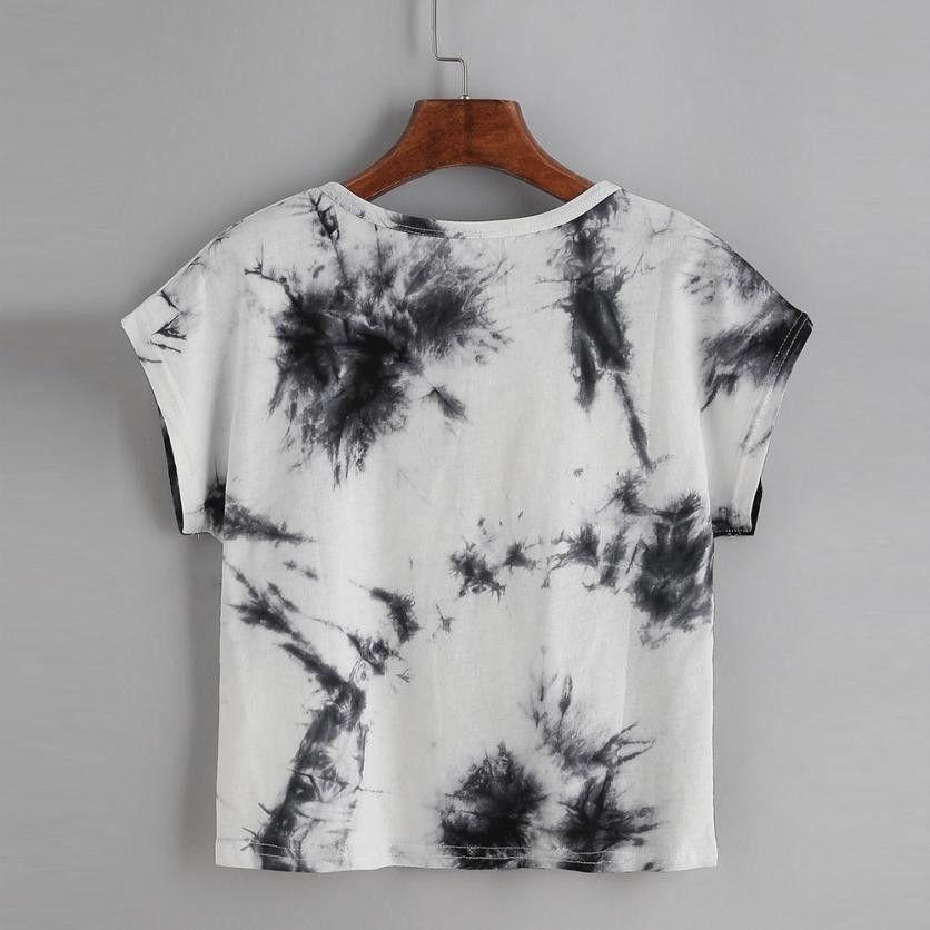 9956316d Women's Tie Dye Short Sleeve Casual Loose T-Shirt Tops blusas summer  clothes for women bohemian summer tops women