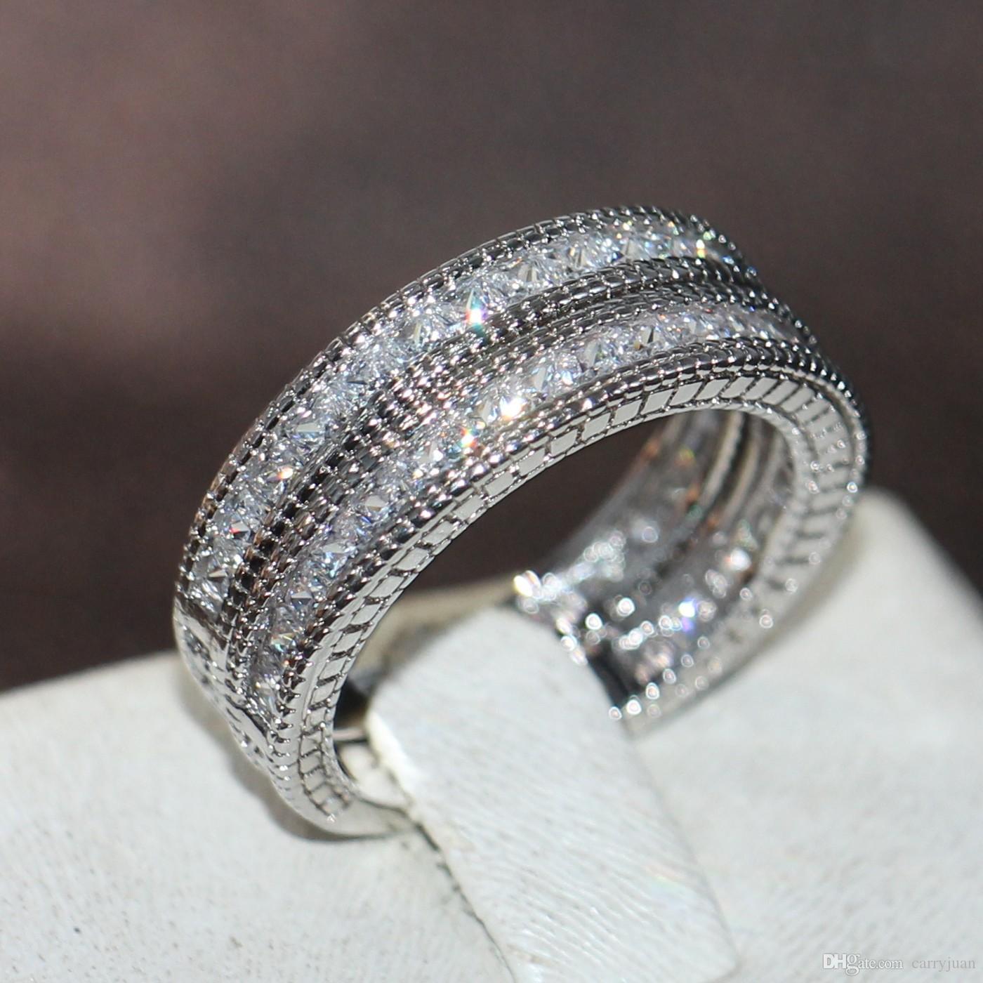 Victoria Wieck Vintage Fashion Promotion Bijoux en or blanc 14 carats Princesse Topaze coupe carrée CZ diamant 3 en 1 bande anneau de mariage cadeau