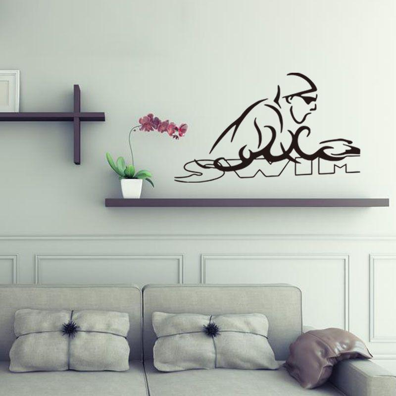 Hot Mural Swimming Sport Vinyl Wall Stickers Sports Decor For Boys Room Bedroom Dorm Wall Art DIY