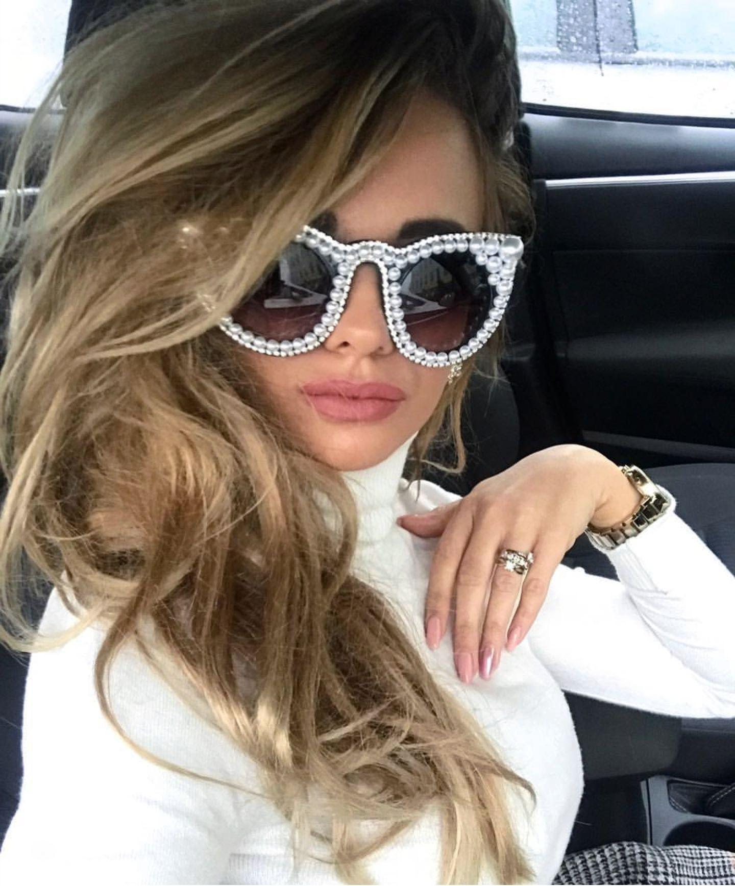0df52293a9f 45557 Pearl Diamond Luxury Sunglasses Unique Women CCSPACE Lasses ...