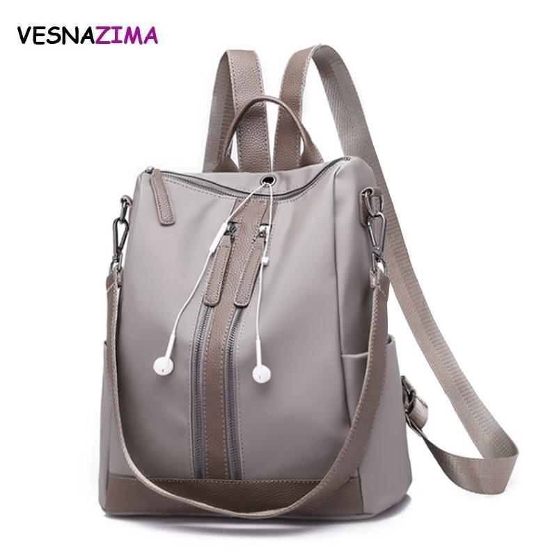 Vesnazima Women Backpack Earphone Plug In School Style Leather Bag For  College Simple Design Women Casual Nylon Backpacks WM753Z Laptop Backpacks  Travel ... ea8d302cdcaa1