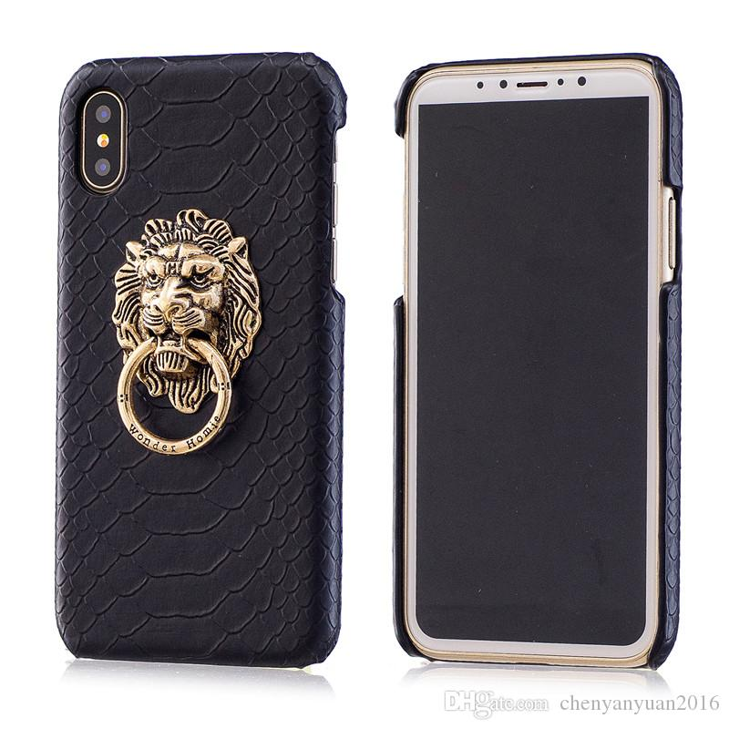 For iphone X Cover fashion Snake Skin leather hard Phone Case 3D Lion Head Stand Fundas for iphone6 6s 7 8plus