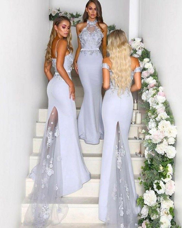 2019 Meerjungfrau Brautjungfer Kleider Halter weg von der Schulter Spaghetti-Trägern Appliques Satin Silber Brautjungfer Hochzeitsgast Kleider