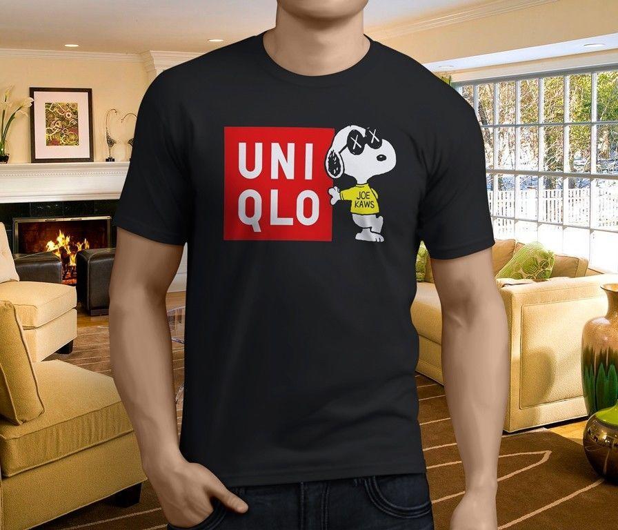 New Brand New Uniqlo X Kaws X Peanuts Skateboard MenS Black T Shirt - Free invoicing tool kaws online store