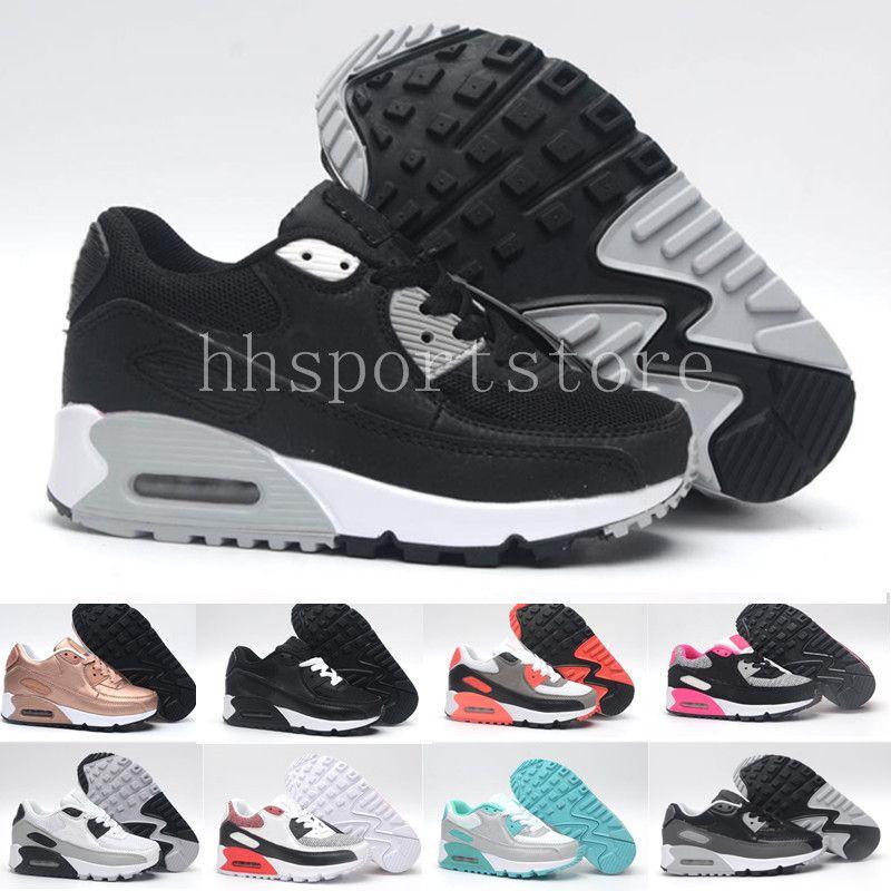 nike air max 90 airmax Zapatillas Zapatos classic 90 boy girl niños niños Zapatillas Running Black Red White Sports Entrenador Air Cushion Surface