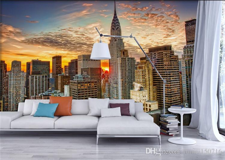 Photo Wallpaper Beautiful New York City Sunset Landscape Art Photography Background Wall 3D Mural Dining Room Home Decor Fresco Free Desktop Wallpapers