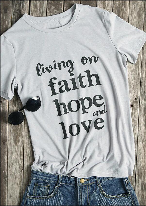 f109386bec Compre Vivendo Na Fé Esperança E Amor T Shirt Religião Cristã Tshirt  Mulheres Engraçado Legal Tees Crewneck Tops Senhoras Femininas Camiseta De  Beenling