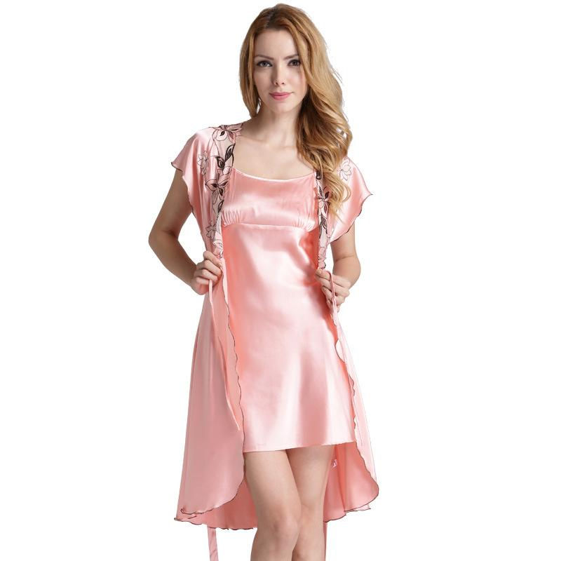 64b7c150e9 2019 Short Sleeved Satin Robe And Nightgown Sleepwear Set Women S Home Wear  Ladies Dressing Gown Two Pieces Silk Bathrobe Slip Set From Yakima