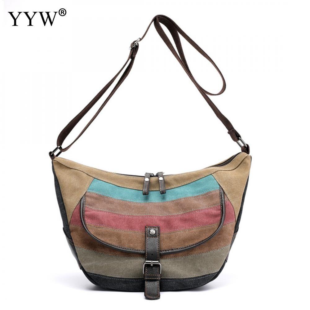 4d1cacd1ecca Hight Quality Striped Crossbody Bag Canvas Hobos Bag Brand Luxury ...