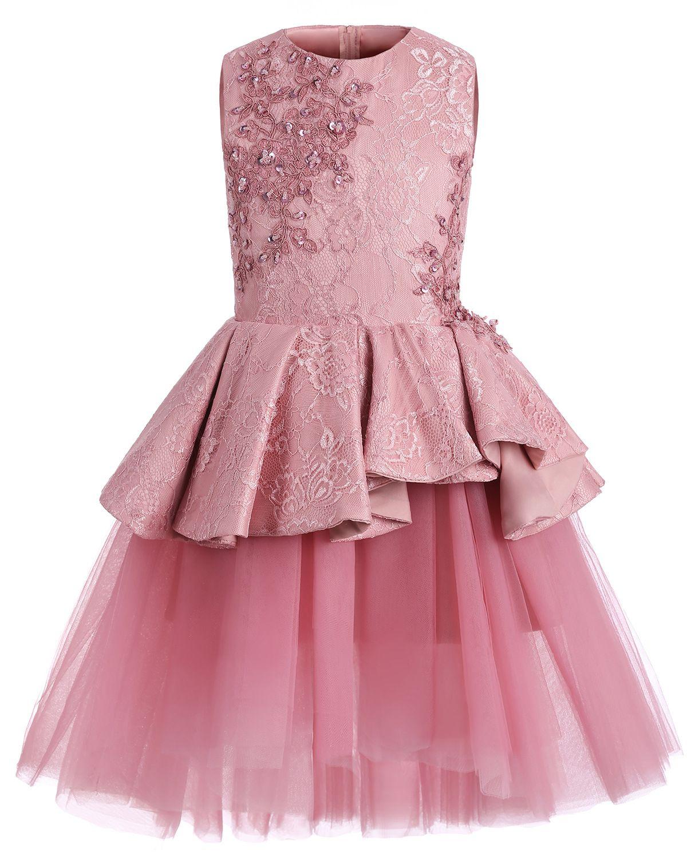 Encantadora niña de flores delicado vestido de encaje en miniatura vestido de fiesta de tul niña de la boda en la parte posterior con raso Sash CH012
