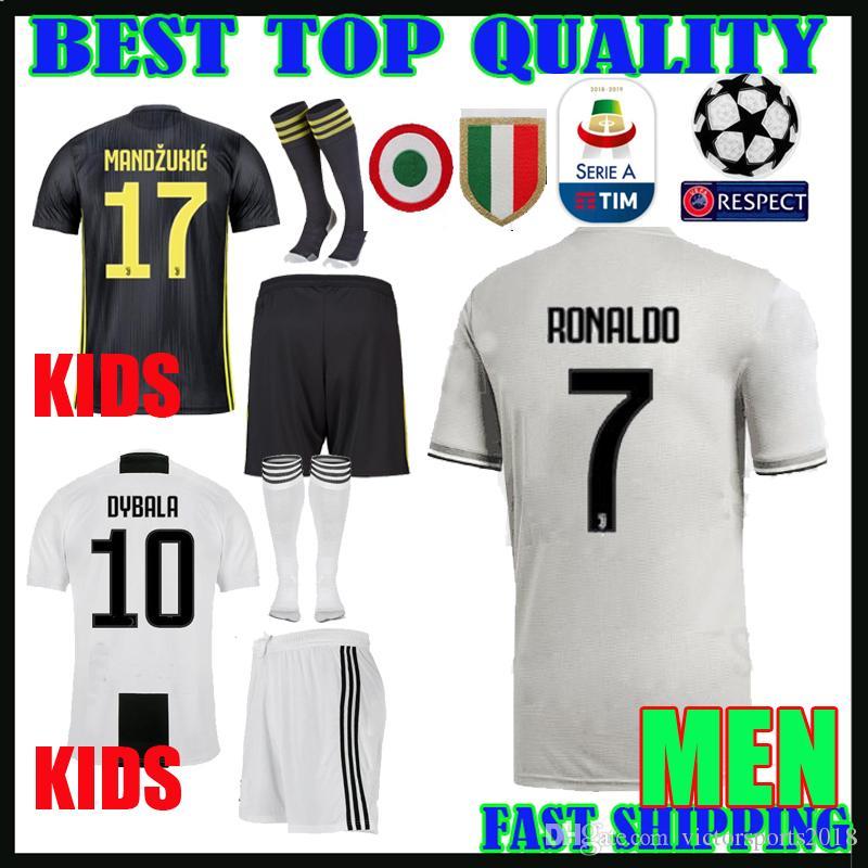 Compre 18 19 Ronaldo Juventus Crianças Kit Camisa De Futebol Para Casa 2018  2019 Mandzukic Matuidi Dybala Bonucci Homens Meninos Terceiro Afastado  Camisas ... 1e3867c463002