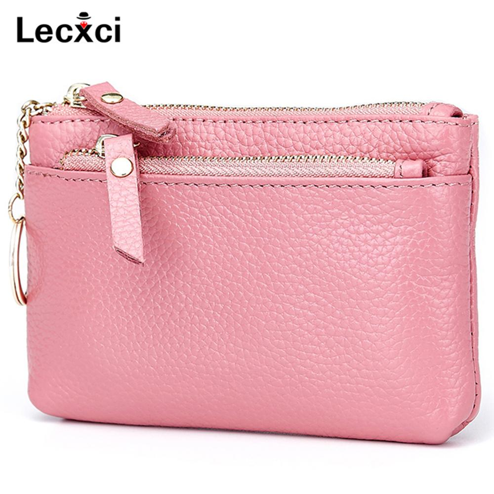 1899144e5b7 Lecxci Fashion Women s Small Real Leather Zipped Coin Change Purse with Key  Ring Card Case Wallet Key Pouch
