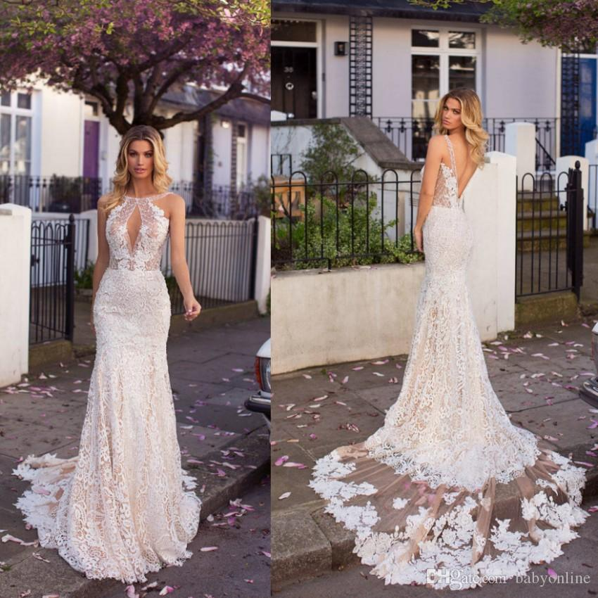 Romantic Full Lace Mermaid Wedding Dresses 2019 Champagne Underlay Appliques  Sexy Low Backless Keyhole Neck Long Country Bridal Gowns Formal Dress Kate  ... 85dab0df42ea