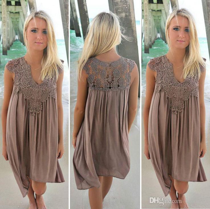 Boho стиль шнурка женщин лета платья Свободный Свободный пляж Мини Свинг платье шифон Бикини Cover Up Женская одежда ВС платье
