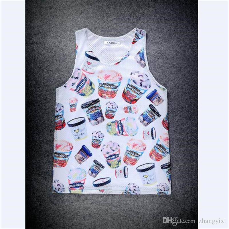 Wholesale Men Clothing Summer Style 3d Food Heat Press Tank Tops Print Jersey Bodybuilding Stringer Sleeveless Vest