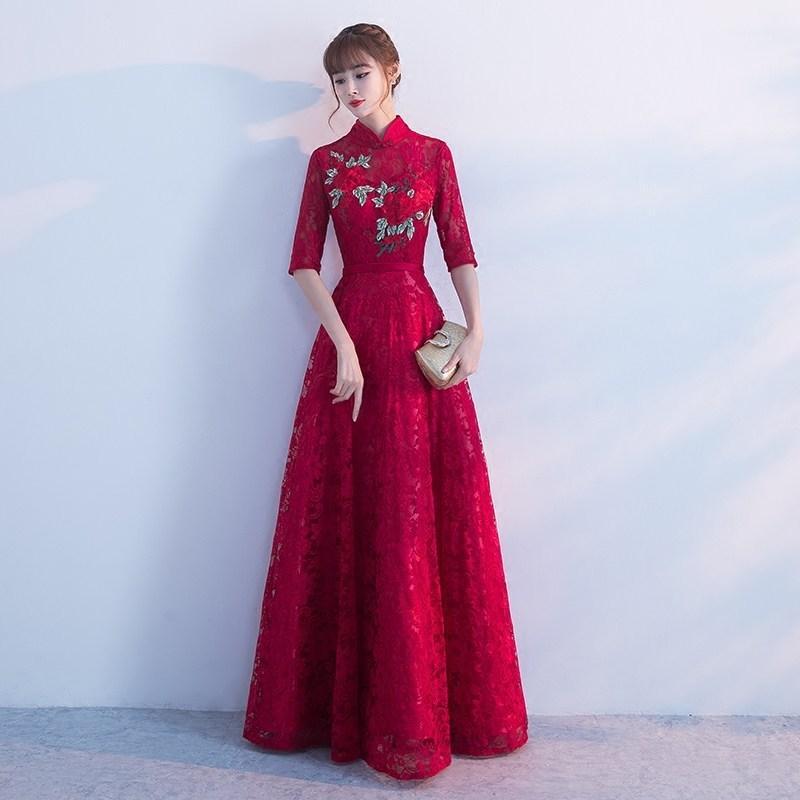 006cb8917 Compre Vestido De Noche De Novia Qipao Largo De Encaje De La Boda Vestido  Tradicional Chino Tradicional Vestidos Orientales Bordado Rojo Cheongsam  Vintage A ...