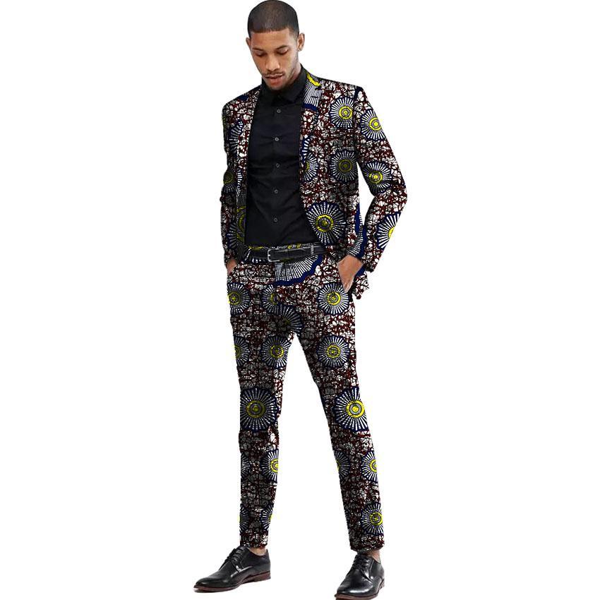 Compre Trajes De Hombre De Estilo De África Traje De Chaqueta De Impresión  Dashiki Y Pantalón Juntos Blazers De Hombre Chaqueta De Hombre De Fiesta  Africana ... 17266c935f6