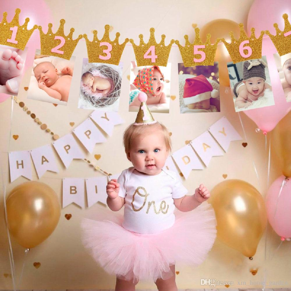 2019 First Birthday Banner Flag Party Supplies Monthly One Year Old Baby Shower Boy Happy Decor From Xm Home Garden 293