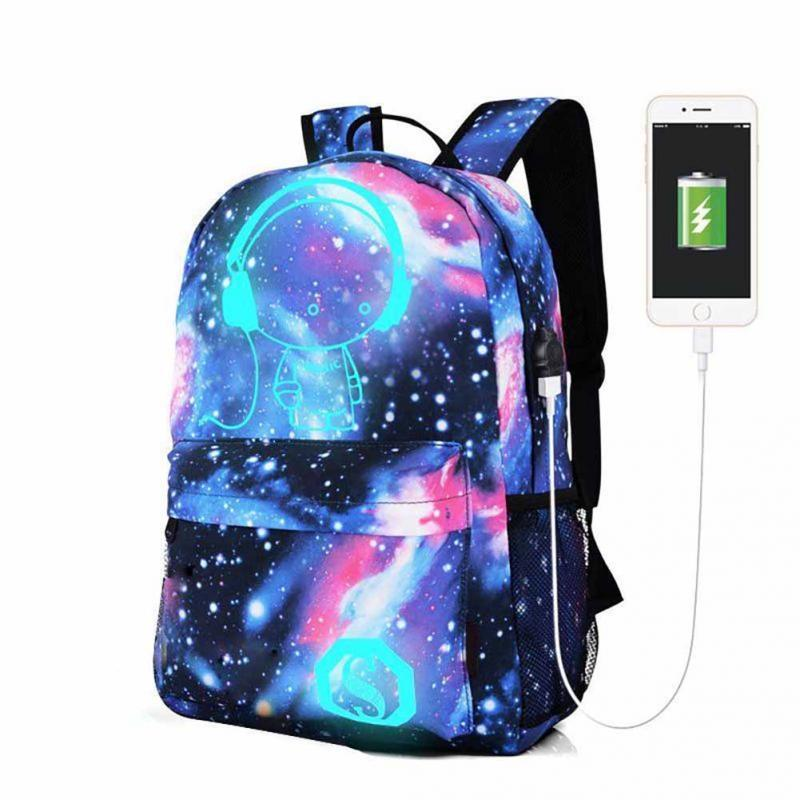 trend popular galaxy theme noctilucent backpack canvas usb charger