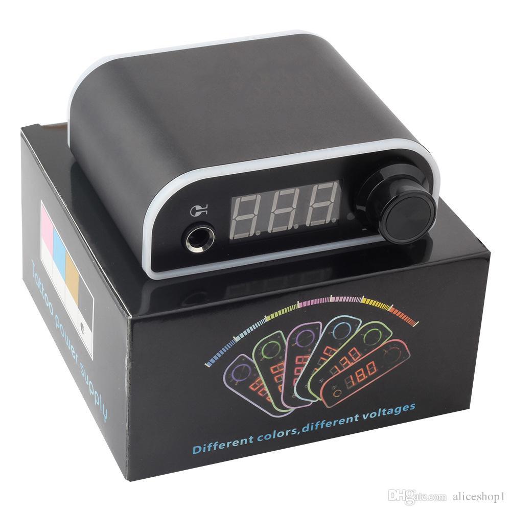 Mini fonte de alimentação colorida da tatuagem com o adaptador do poder para máquinas giratórias da tatuagem da bobina com luz do diodo emissor de luz da franja