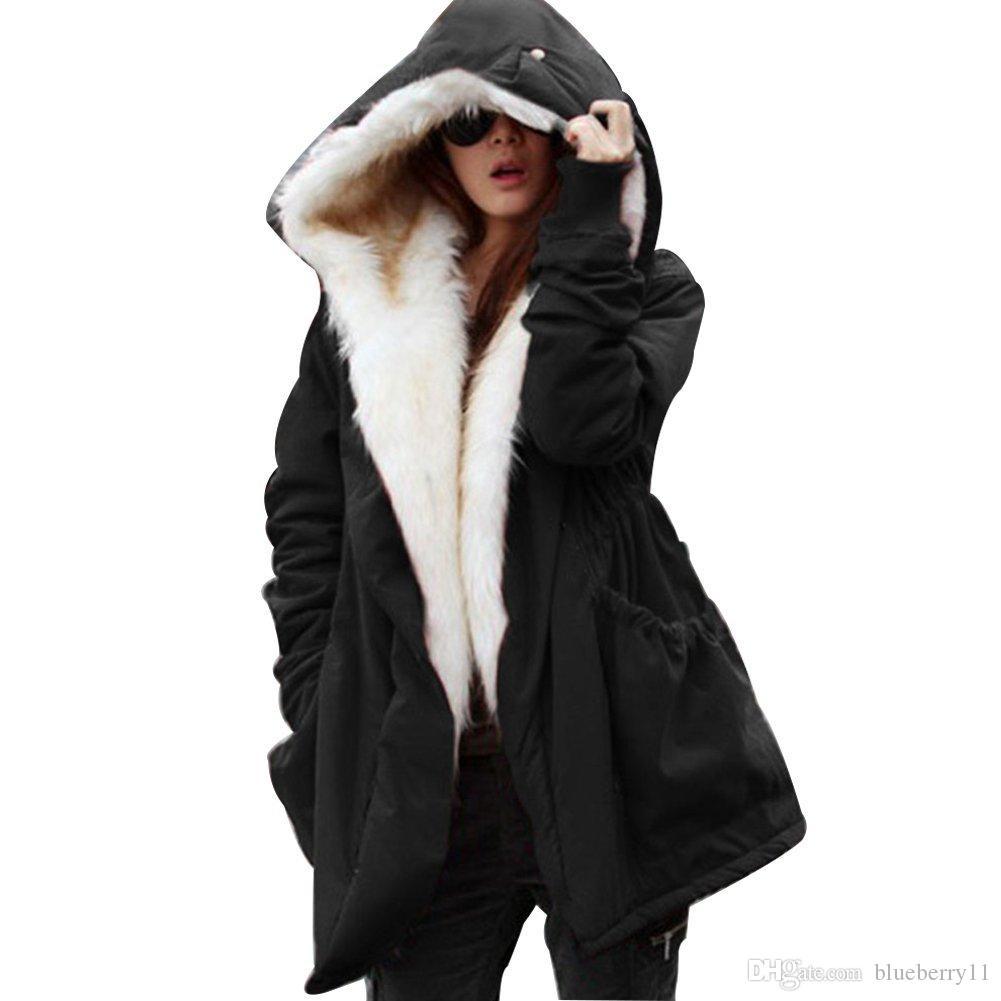 Chaqueta con capucha de la capa de la sudadera con capucha de las mujeres de la manera del invierno Parkas Abrigo largo de la trinchera con la correa de la correa de la correa S-2XL