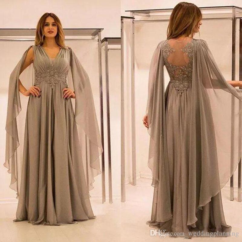 2018 elegante gasa ilusión espalda madre de los vestidos de novia con encaje apliques Beads fruncido cuello en v vestido de la madre del novio más el tamaño