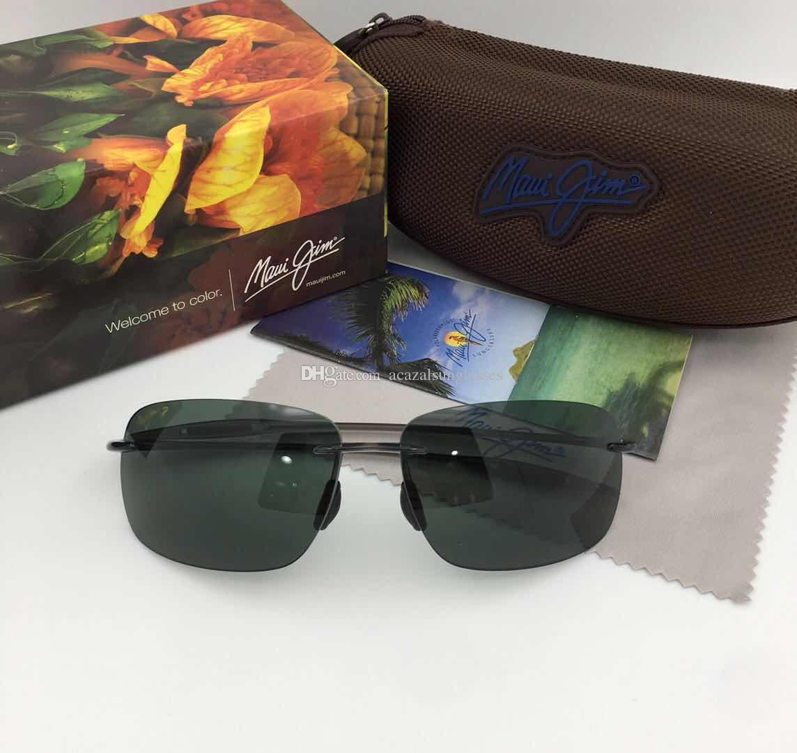 a27d51c2d180 2018 FASHION MAUI JIM MJ422 Polarized Men Sports Sunglasses MJ422 Women  Sunglasses CLEAR-GRAY FRAME LIGHT-GREEN LENS WITH BOX 63mm-13mm-140 SUNGLASSES  MAUI ...