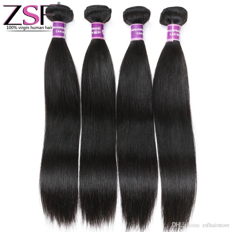 ZSF 8A Grade 100% Unprocessed Indian Virgin Human Hair Straight 4 Bundles Human Hair Extensions Best Price Hair Weave