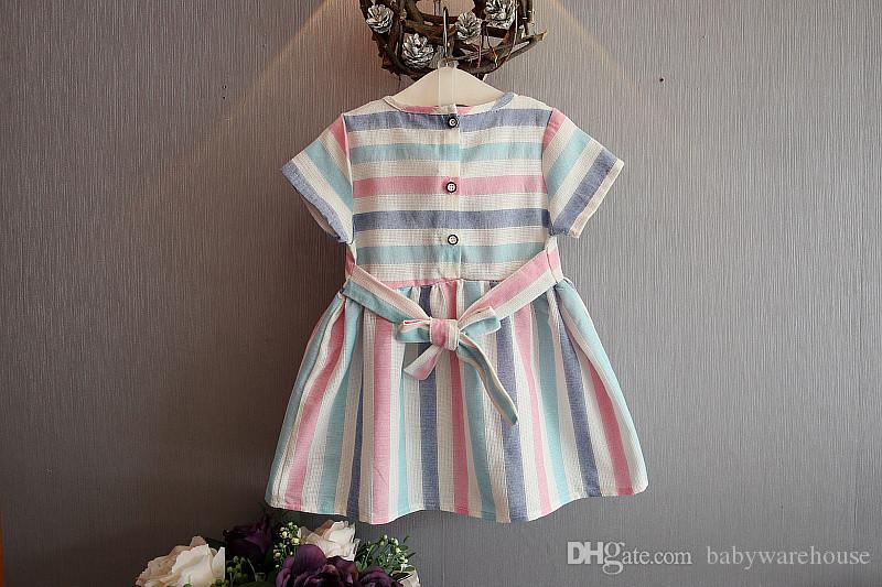 Vestiti del bambino delle ragazze di stile coreano 2018 bambino infantile variopinto di estate Vestito a strisce variopinto Bambini vestiti da estate manica corta bambini Swan Costumes